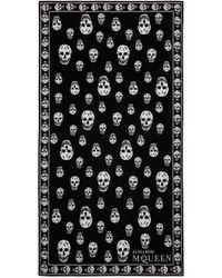 Alexander McQueen - Black Skull Cotton Towel for Men - Lyst