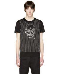 Alexander McQueen Black Embroidered Skull T-shirt for men