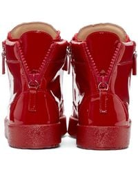 Giuseppe Zanotti - Red Patent Leather High-top London Sneakers for Men - Lyst