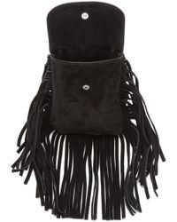 Saint Laurent | Black Fringed Suede Shoulder Bag | Lyst