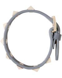 Valentino | Gray Grey Leather Rockstud Bracelet | Lyst