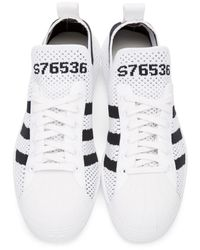 Adidas Originals - White Superstar 80s Primeknit Sneakers - Lyst