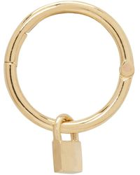 Lauren Klassen   Metallic Gold Tiny Padlock Hoop Earring   Lyst
