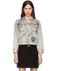 Marc Jacobs Blue Ecru Denim Embroidered Shrunken Jacket