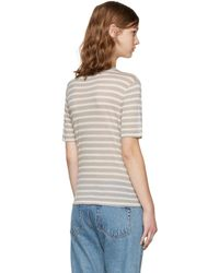 T By Alexander Wang Natural Beige & Taupe Striped T-shirt