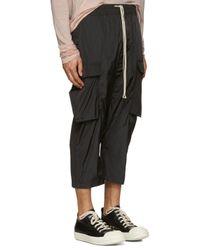 Rick Owens Black Drawstring Cropped Cargo Pants for men