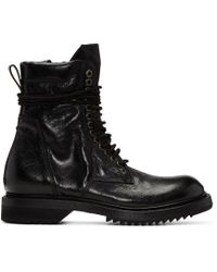 Rick Owens | Black Cracked Low Army Boots for Men | Lyst