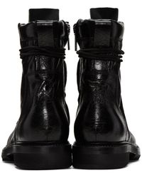 Rick Owens Black Cracked Low Army Boots for men