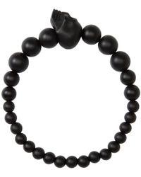 Alexander McQueen   Black Beaded Skull Bracelet   Lyst