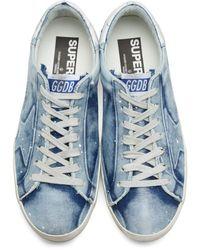 Golden Goose Deluxe Brand Blue Bleached Denim Superstar Sneakers for men