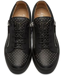 Giuseppe Zanotti Black Studded London Sneakers for men