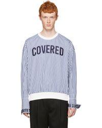 Juun.J White Striped 'covered' Pullover for men
