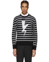 Neil Barrett Black Striped Thunderbolt Pullover for men
