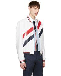 Thom Browne - White Stripe Varsity Jacket for Men - Lyst