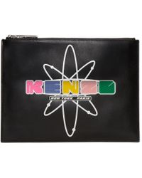 KENZO | Black Leather Cory Pouch | Lyst