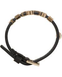 Versace | Black Leather Logo Bracelet | Lyst