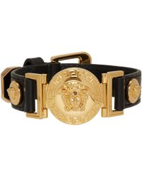 Versace | Black Leather Medusa Bracelet for Men | Lyst