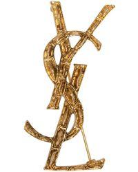 Saint Laurent | Metallic Gold Crocodile Monogram Opyum Brooch | Lyst