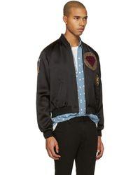 Saint Laurent Black Satin Patch Teddy Bomber Jacket for men