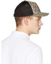 Gucci - Natural Beige Logo & Snake Cap for Men - Lyst