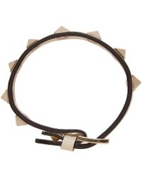 Valentino | White Ivory Leather Rockstud Bracelet | Lyst