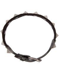 Valentino Black Textile Rockstud Bracelet for men