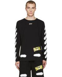 Off-White c/o Virgil Abloh Black Diagonal Spray Long Sleeve T-shirt for men