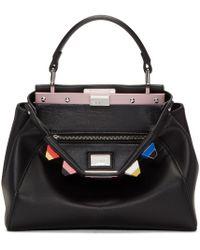 Fendi Black Mini Rainbow Peekaboo Bag
