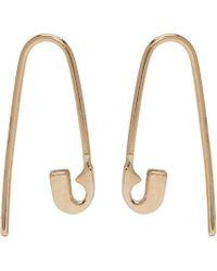 Lauren Klassen   Metallic Gold Tiny Safety Pin Hook Earrings   Lyst