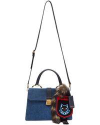 Miu Miu Blue Denim Raccoon Tail & Cat Bag
