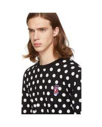 メンズ Maison Kitsuné ブラック And ホワイト ポルカ ドット フォックス T シャツ Black