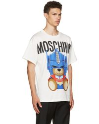 Moschino White Transformers Teddy Logo T-shirt for men