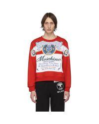 メンズ Moschino Budweiser Edition レッド And ホワイト ロゴ スウェットシャツ Red