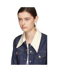 MM6 by Maison Martin Margiela Blue Indigo Contrast Collar Jacket