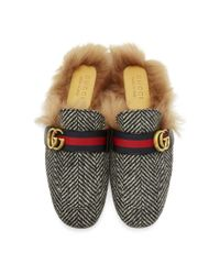 Gucci - Multicolor Black And White Herringbone Wool-lined Princetown Slip-on Loafers for Men - Lyst