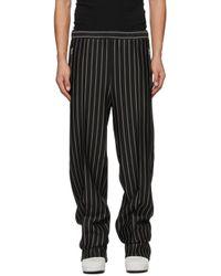 メンズ Random Identities ブラック & グレー ストライプ Dressy ラウンジ パンツ Black