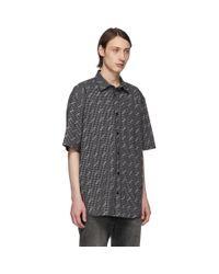 メンズ Balenciaga ブラック And ホワイト チェック オール オーバー ロゴ ノーマル フィット シャツ Black