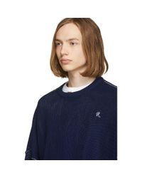 メンズ Raf Simons ブルー クロップド セーター Blue