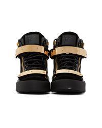 Giuseppe Zanotti Black Velvet London High-top Sneakers for men