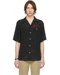 メンズ Alexander McQueen ブラック ロゴ ボウリング シャツ Black