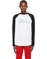 メンズ Palm Angels ホワイト & ブラック Hue Gothic ロゴ ロング スリーブ T シャツ Multicolor