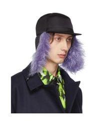 メンズ Prada ブラック And パープル ファー フラップ イリス キャップ Purple