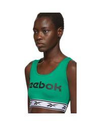 Soutien-gorge de sport a logo vert Reebok en coloris Green