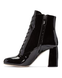 Miu Miu - Black Patent Leather Ankle Boots - Lyst