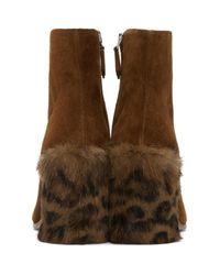 Miu Miu | Brown Tan Leopard Fur Heel Boots | Lyst