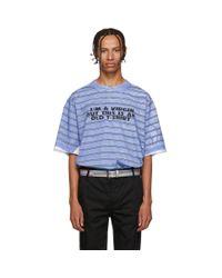 メンズ Vetements ブラック And レッド Virgin T シャツ Blue