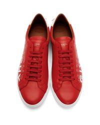 メンズ Givenchy レッド And ホワイト アーバン ノット シフト ロゴ スニーカー Red