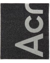 メンズ Acne ブラック ロゴ マフラー Black