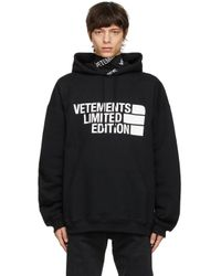 メンズ Vetements ブラック Limited Edition Big ロゴ フーディ Black
