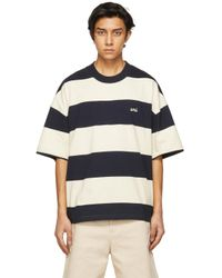 AMI Blue Navy & Off-white Striped Rugby T-shirt for men